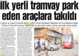 İlk Yerli Tramvay Park eden Araçlara Takıldı 18.08.2013